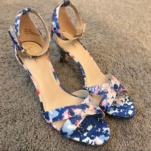 NWOT Never worn ankle strap floral heels